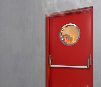 Fire behind a fire door, fire door safety at Select Safety Services Essex